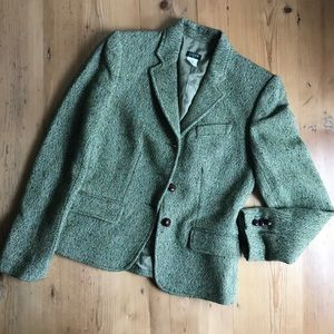 J. Crew 2  green tweed jacket leather buttons